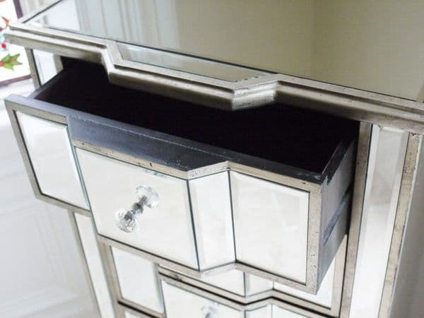 Mirrored Venetian Glass Chest Of Drawers Tall Boy  - Silver